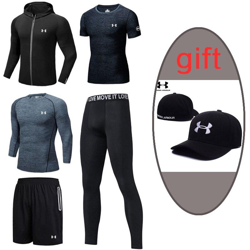 2019 Under Armour hommes entraînement Sport costume extérieur course ensembles mâle Gym Fitness vêtements séchage rapide 5 pièces noir