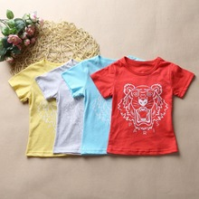 2017 Summer 1-7Years Children T Shirts Boys & Girls Top and Tees Cothing Lion Print 100% Cotton Kid's baby boys clothes