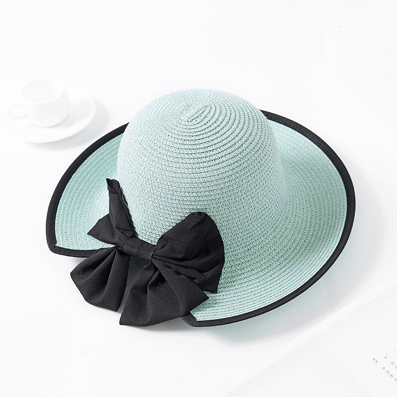 94f354e379b 2018 New Wave Big Brim Women Straw Hat Female Stripe Bowknot Summer Sun Hat  UV Protection Foldable Elegant Girl Beach Cap