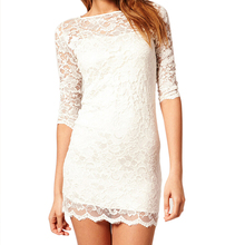 ADW 2017 NEW New women clothing Bodycon peplum flower lace dress slash o-neck sexy evening mini dress White