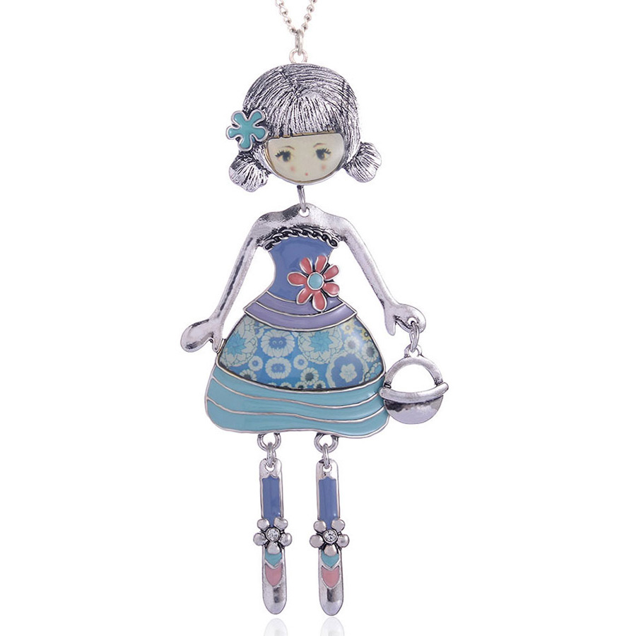 Fashion Enamel Necklaces Lovely Girl Wear Dress Bag Trendy Long Pendant Chain Necklace Vintage Doll Link Chain Women Jewelry in Pendant Necklaces from Jewelry Accessories