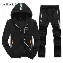 Casual Tracksuit Men Set 2019 Autumn Spring Two Piece Zip Hoodies Jacket+Pants Mens Track Suit Brand Clothes Male Sportwear Sets(China)