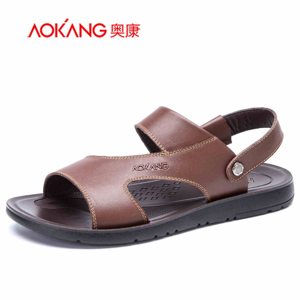 ФОТО Aokang 2016 New Summer Shoes Fashion Summer Sandals men Genuine Leather Male Sandals Men Shoes Casual Shoes Free shipping