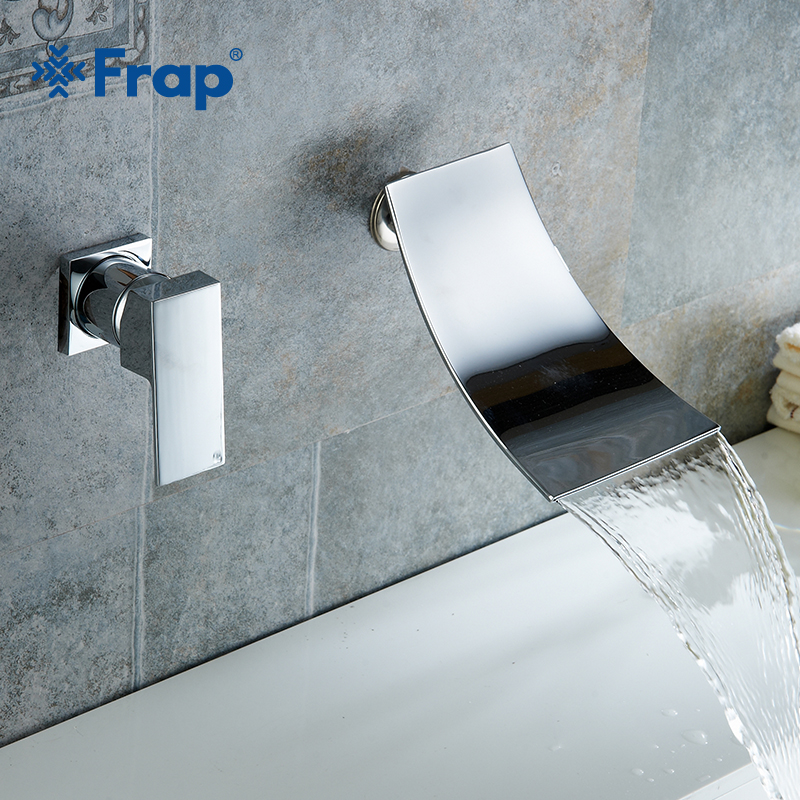 Frap New Waterfall Basin Faucet Wall Mounted Chrome Brass Bathroom Basin Faucet Spout Vanity Sink Mixer Tap Single Handle Y10032 frap solid brass basin faucet hot cold water tap single handle wash chrome bathroom kitchen sink mixer wall mounted f4621