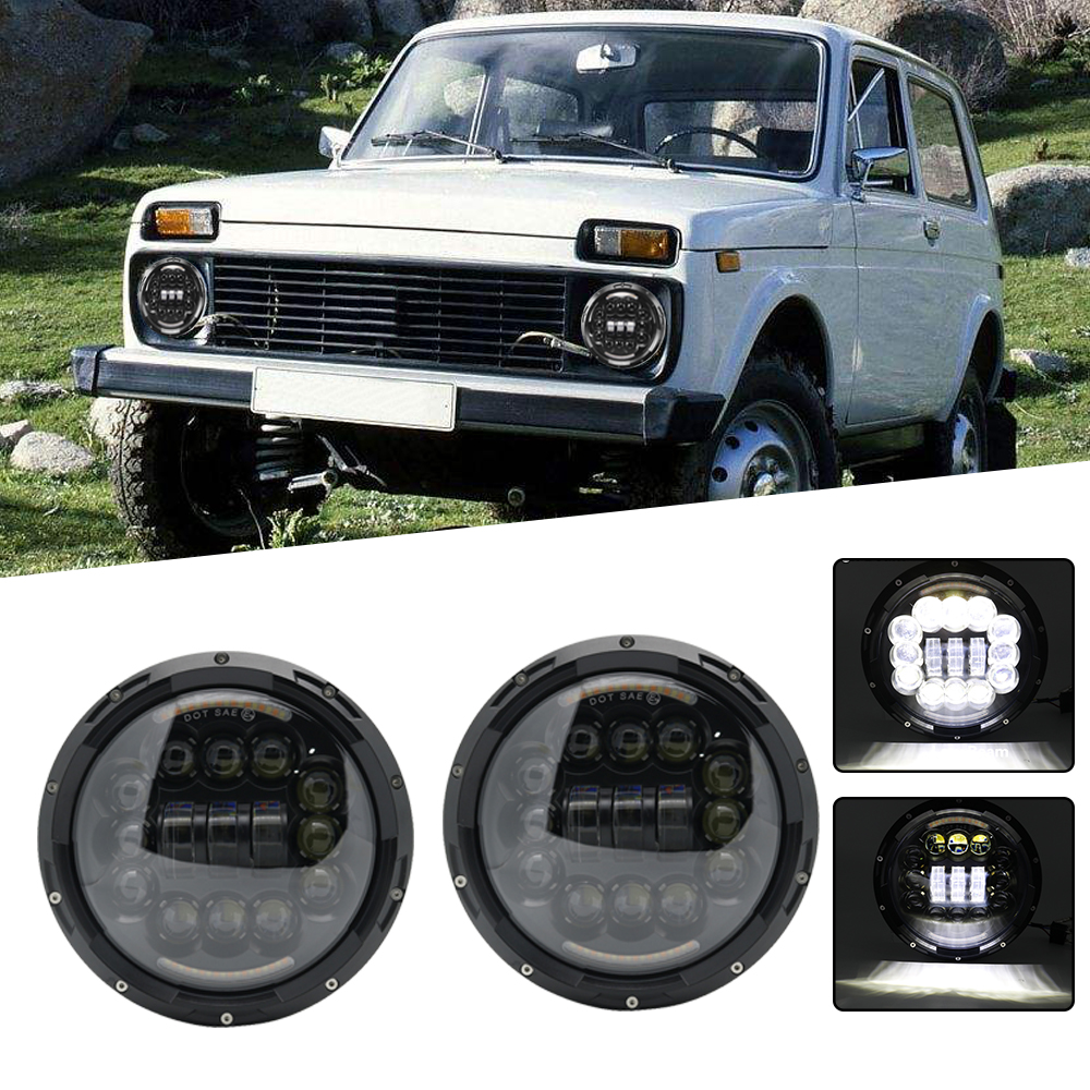 2x 90W 7 Led Headlight H4 High Low Beam Round Cars Running Lights Turn Signal Lamps