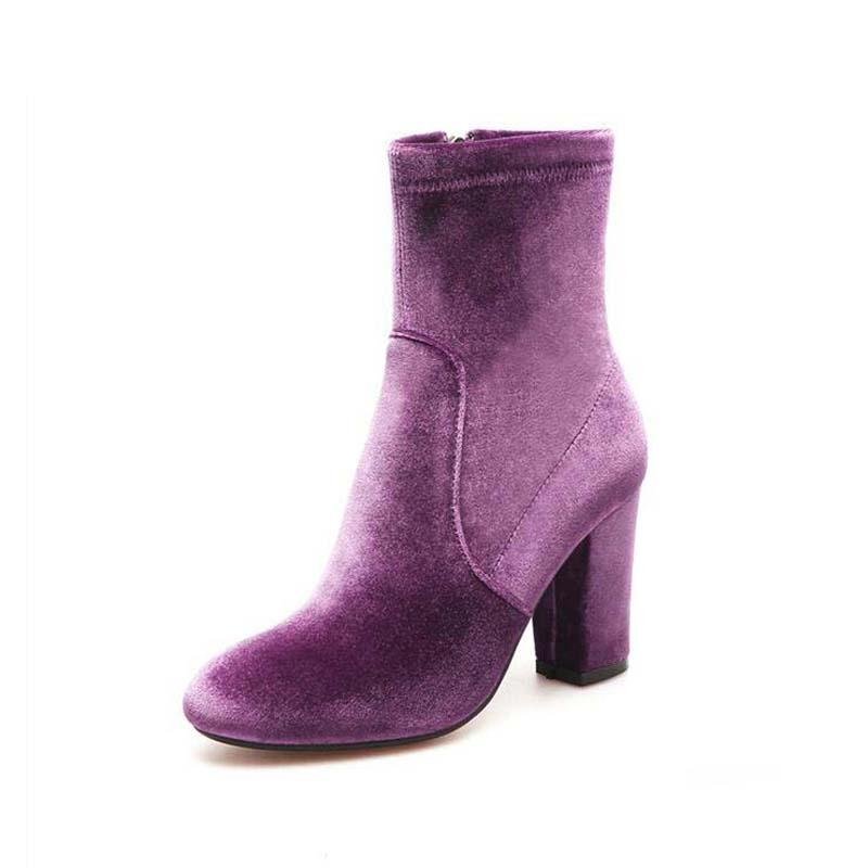 ФОТО Autumn And Spring Short Chunky Zipper Boots Women Boots High Heels Shoes Sexy Martin Boots Women Ankle Boots zapatos mujer