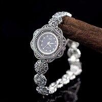 Новый ограниченной романтический цветок серебро часы леди S925 чистого серебра часы тайский серебряный браслет Таиланд горный хрусталь брас