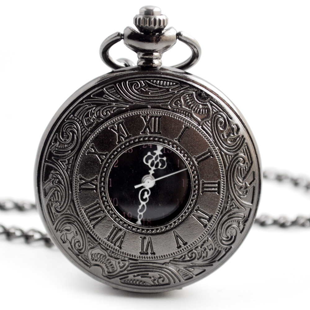 Quartz Pocket Watch Wholesale Classical Roman Numbers Pocket Fob Watches Black Old Men Women's Accessories Father Gifts Jewelry