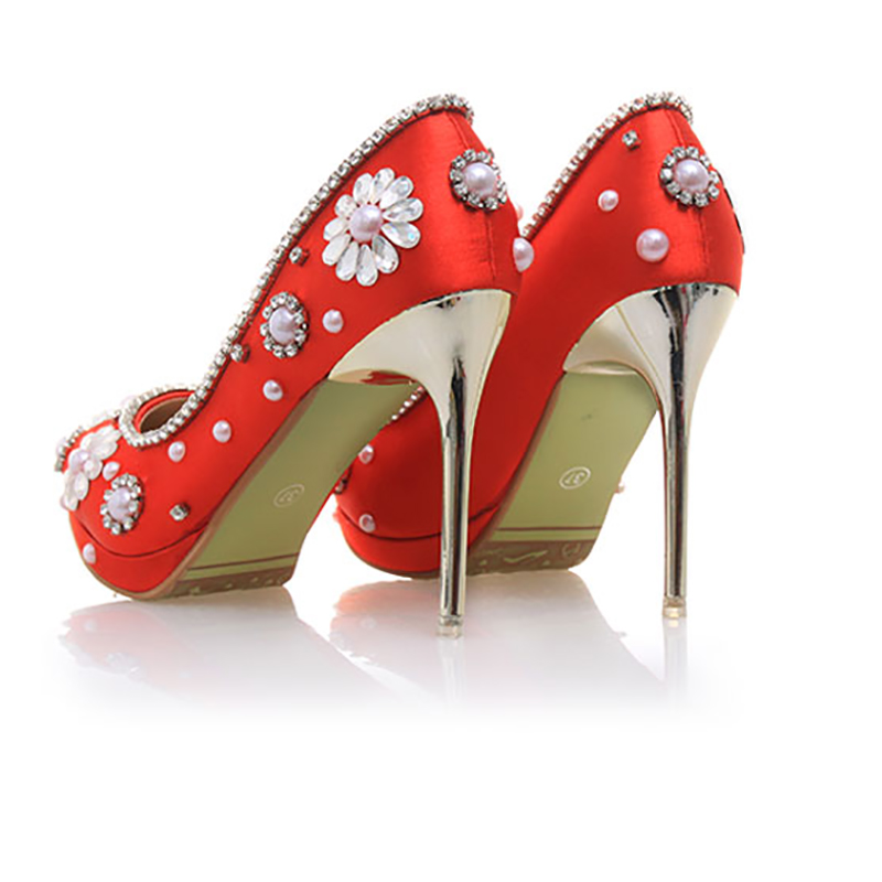 7344831980 Women Wedding Shoes Red Crystal High Heels 10cm Bride Platform Pumps  Stiletto Sexy Pointed Toe Fashion Ladies Party Shoes