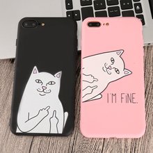 Zagter Cartoon Cat  Thin Phone Case For iphone 7 6 6S 5 5S 8 Plus 11 X XR XS MAX candy colour