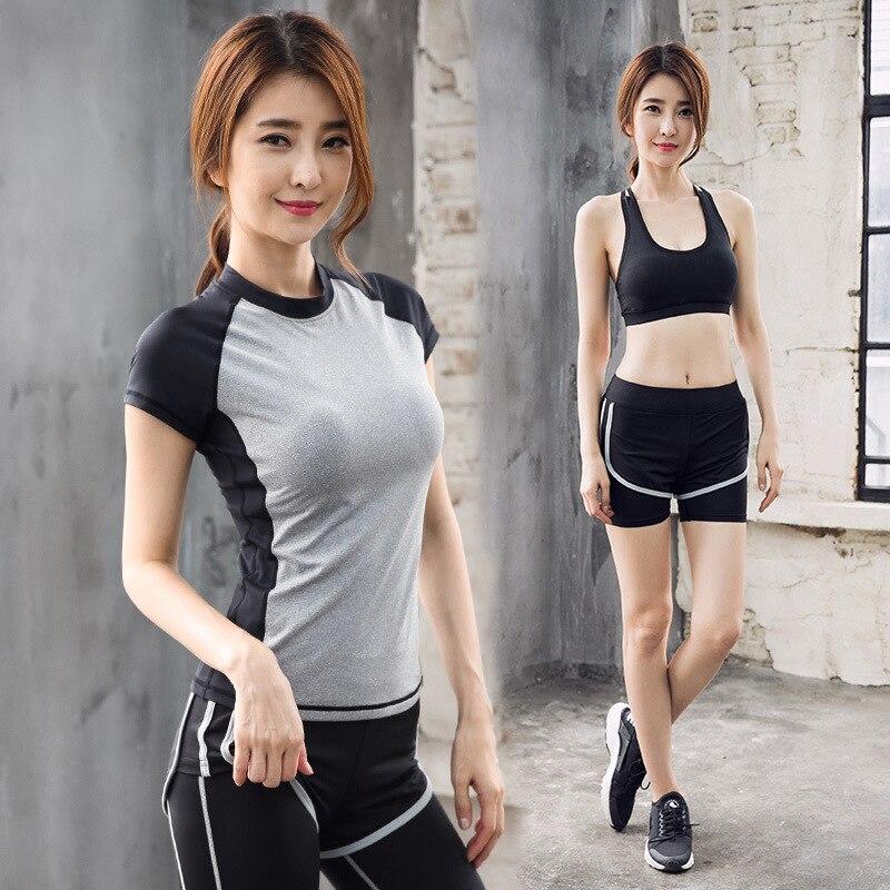 Nouveaux costumes de yoga vêtements de course pour femmes slim respirant vêtements d'exercice à séchage rapide quatre ensembles de vêtements à séchage rapide gilets pantalons
