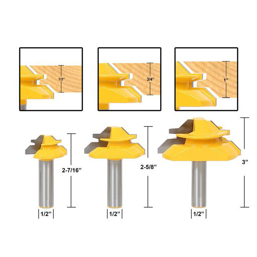 3Pcs 1/2 Shank 45 Degree Glue Joint Lock Miter Router Bit Carbide End Mill Set Wood Tenon Cutter for Woodworking Cutter Tool freeshipping 2pcs set woodworking milling cutter solid carbide end mill 1 4 shank router bit woodworking chisel cutter tool