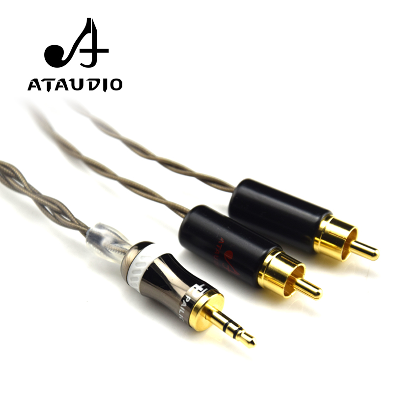 ATAUDIO Hifi 3.5mm to 2 <font><b>RCA</b></font> <font><b>Cable</b></font> Odin Siver-plated 3.5mm jack to 2rca Male Aux <font><b>Cable</b></font> image