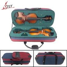 Красный и синий сшитый Оксфорд ткань вспененный прямоугольник двойной слой скрипки Чехол w/большая сумка для хранения ремень для 4/4 скрипки