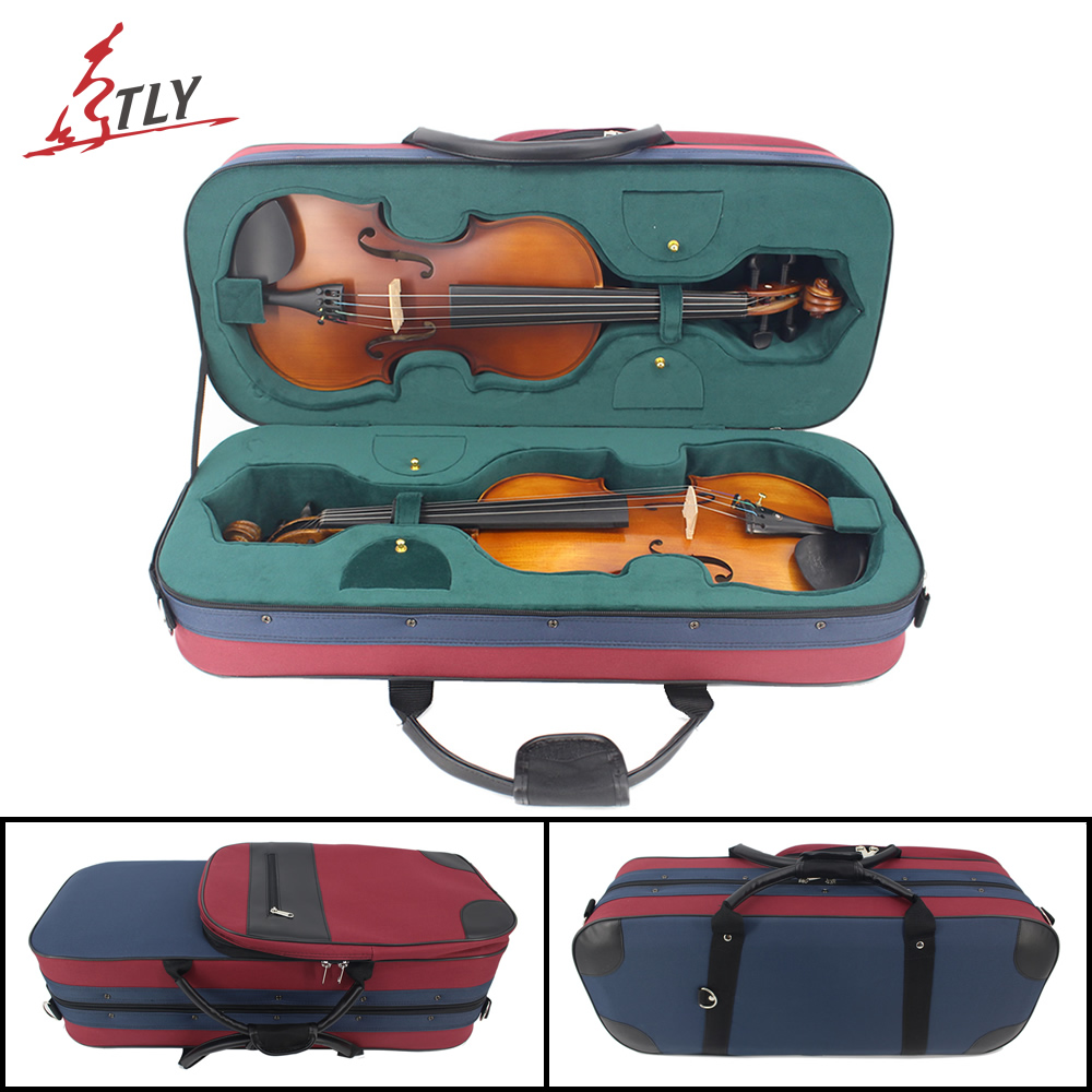 New Red & Blue Stitching Oxford Fabric Foamed Rectangle Double Layer Violin Case w/ Large Storage Bag Belt for 4/4 ViolinNew Red & Blue Stitching Oxford Fabric Foamed Rectangle Double Layer Violin Case w/ Large Storage Bag Belt for 4/4 Violin