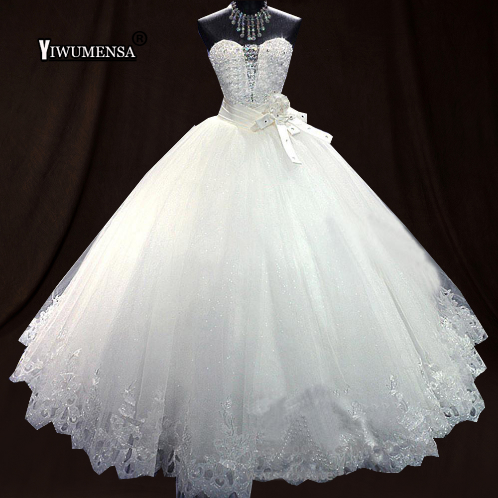 Us 1883 30 Offvestidos De Novia 2018 Luxurious Bling Beading Wedding Dress Puffy Tulle Appliques Bridal Gowns Lace Up Vintage Wedding Dresses In