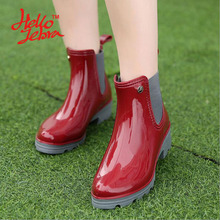 Hellozebra Women Rain Boots Ladies Elastic Band Solid Ankle Round Toe Rubber Flat Heel Waterproof Charm Rainboots Soft Leather