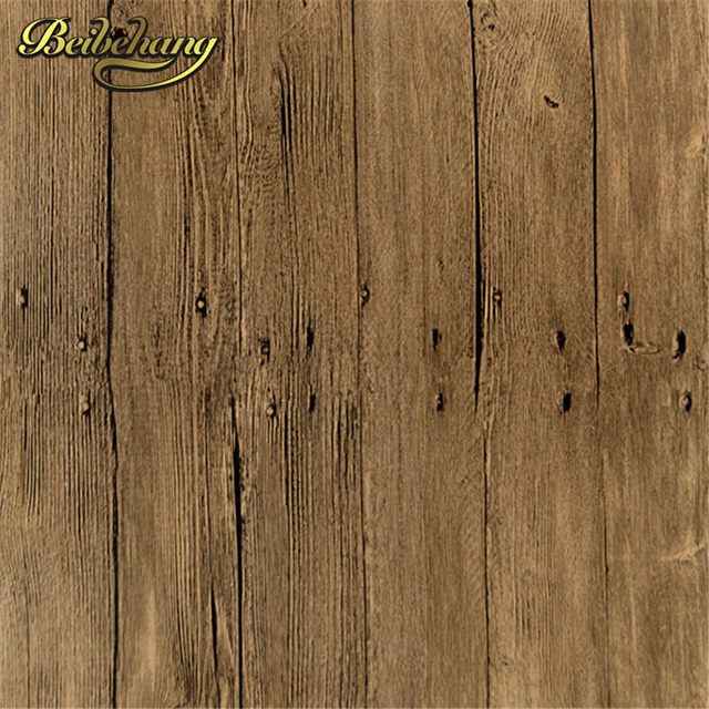 Beibehang Chinese Style Vintage Pvc Wallpaper Wood Textured Wall Paper Living Room Bedding Realistic Effect