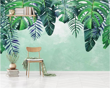 beibehang Customize wallpaper HD Nordic minimalist hand-painted small fresh tropical leaves TV sofa background wall 3d