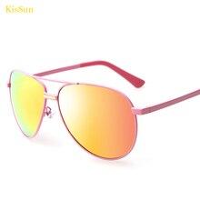 2016 Pink Aviador Women Sunglasses Mirrored Black G ray Polarized Men Sun Glasses Original KisSun Brand Eyewear With Logo KS3027