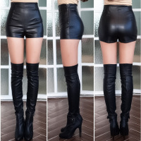 pu leather shorts Ladies 2018 new autumn and winter wear short leather sexy high waist sexy primer