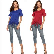 Camisas Mujer Fashion Women T shirt O-Neck Ruffle Short Sleeves Strapped Solid Top Tees Clothing 2015 camisas