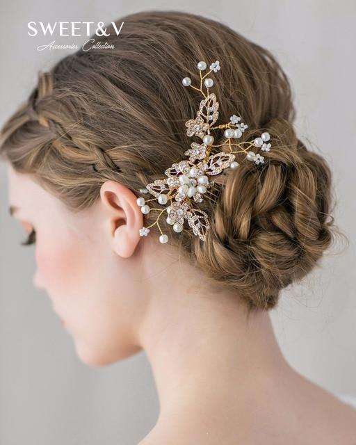 Handmade Pearl Rhinestone Combs Head Pieces For Women Bridal Hair