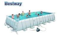 56474 Bestway 732x366x132 см Мощность Сталь прямоугольная рамка бассейн комплект (фильтр, лестницы, крышка, коврик) 24'x12'x52 AGP бассейн огромный бассейн