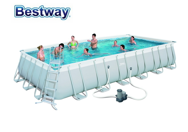 56474 Bestway 732x366x132cm Power Steel Rectangular Frame Pool Set (Filter,Ladder,Cover,Mat) 24'x12'x52