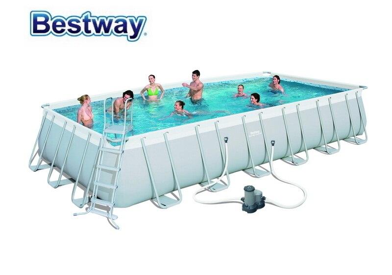 56474 Bestway 732x366x132cm Power Steel Rectangular Frame Pool Set (Filter,Ladder,Cover,Mat) 24'x12'x52