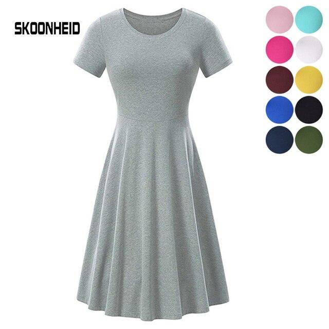 Vestido Casual de verano 2019 mujeres Oficina corto manga más tamaño de vestidos Mujer traje elegante vestidos de fiesta de algodón vestidos
