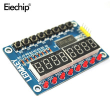 Tm1638 display led 7 segmento 8 bit tubo digital placa de exibição tm1638 16 teclas 8bit teclado display led módulo para arduino diy(China)