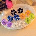 Прекрасные Цветы Клевера Цветок Кристаллы Стад Серьги для Женщин ювелирные изделия brincos Pendientes Mujer бижутерии Аксессуары Подарки