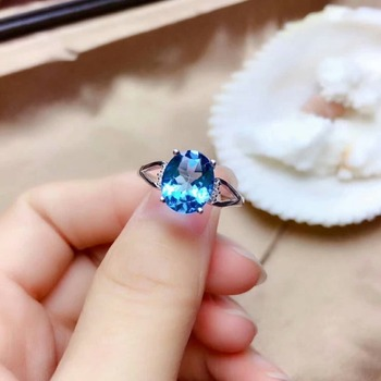 shilovem 925 silver sterling rings real natural topaz open trendy fine Jewelry party new wholesale gift 8*10mm mj0810911agb