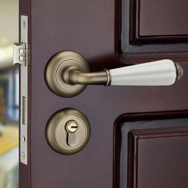 High Quality Room Door Lock,Thick Lock Cylinder, Separate Ceramic Handle Locks, Bathroom Bedroom Wooden Door Hardware Classical