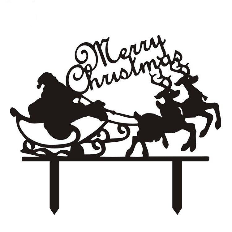 182 15 De Réductionjoyeux Noël Père Noël Gâteau Drapeaux Noir Blanc Acrylique Décoration De Gâteau Pour Noël Fête Gâteau Décor Offre Spéciale In