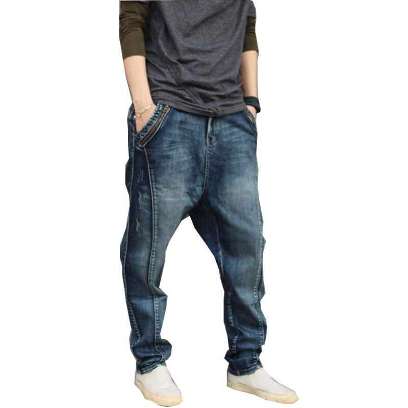 New Men's Jeans Summer Men's Hip Hop Men's Pants Large Size Loose Trend Feet Pants Harem Pants Suitable For 150kg Men's Pants