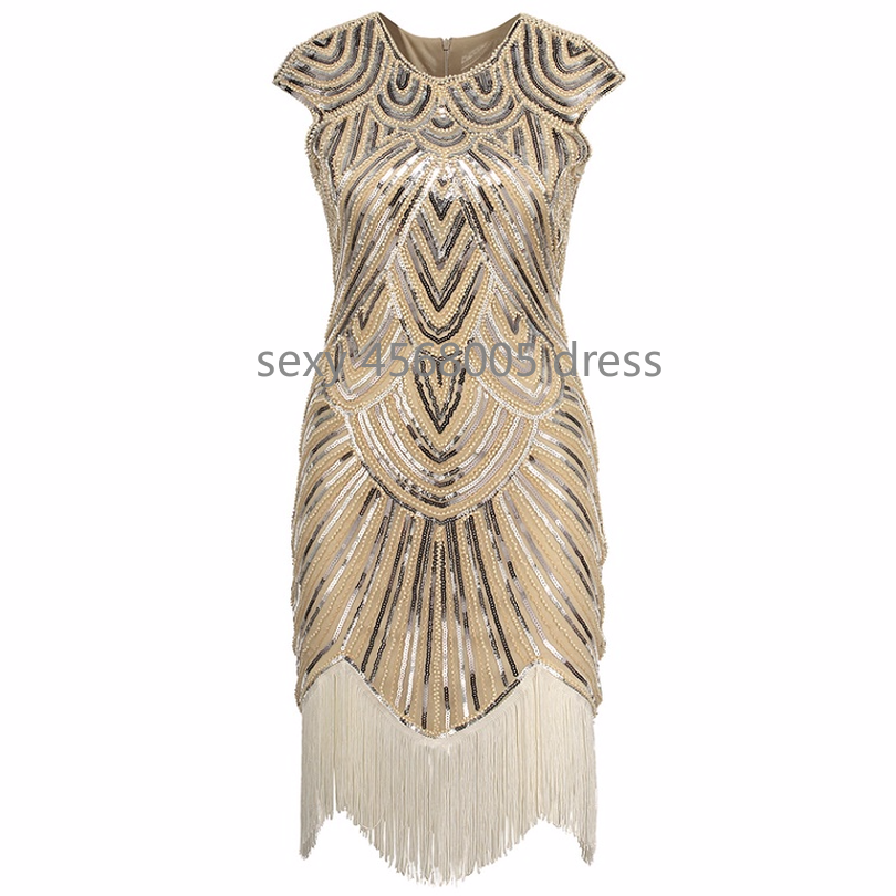 Women s Great Gatsby Dress Vintage O-Neck Cap Sleeve Sequin Bead Tassel  1920s Flapper Dress Roaring 20 s Party Costumes 1747be86a283
