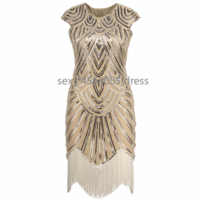 fd1c66c294 Women's Great Gatsby Dress Vintage O-Neck Cap Sleeve Sequin Bead Tassel  1920s Flapper Dress Roaring 20's Party Costumes