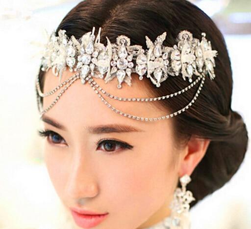 2015 de La Moda de novia de estilo Indio nupcial tiara y de la corona de