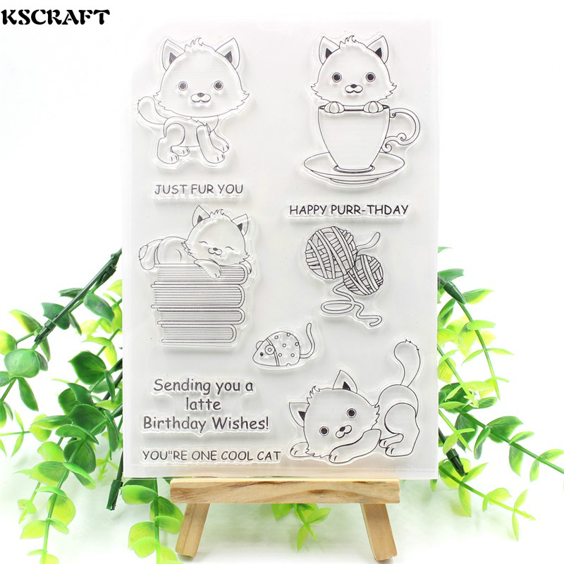 KSCRAFT Cute Cats Transparent Clear Silicone Stamps for DIY Scrapbooking/Card Making/Kids Fun Decoration Supplies kscraft butterfly and insects transparent clear silicone stamps for diy scrapbooking card making kids fun decoration supplies