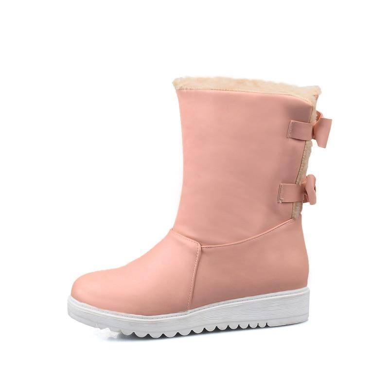 Haute Couleurs Beige Qualité Mode Taille Grande forme Papillon 2017 pink Doux Plate Solide Hiver 40 noeud Bottes Nouvelle 3 34 Neige De black HXSHwIx