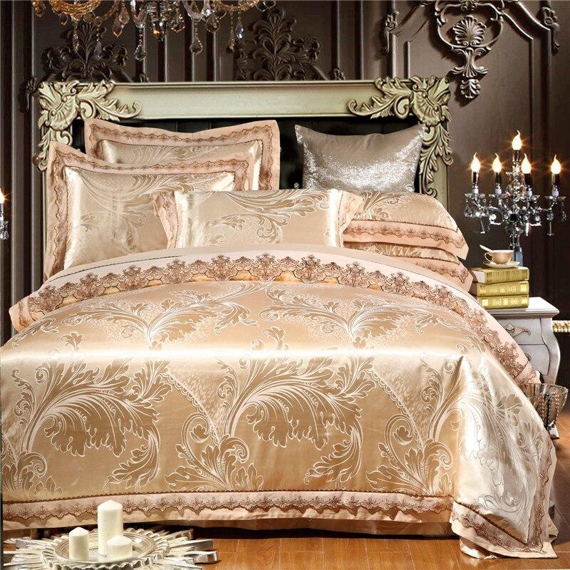 New Europe Style Bedding Set Silk 4/6pcs Gold/Beige/Blue Noble Jacquard Satin Duvet/Quilt Cover Bed Set Bedclothes Bed Linen