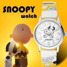 Snoopy relógio feminino, relógio de pulso clássico para homens e mulheres, marca genuína, moda casual de quartzo, relógios de pulso, couro, relógio à prova d água