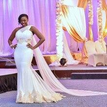Южноафриканское свадебное платье русалки плюс размер одно плечо Свадебные платья Кружево цвета шампанского с аппликацией Дубай арабские свадебные платья
