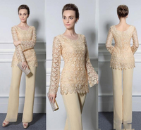 2019 New Lace Pants Suits For Mother Of The Bride Formal Groom Dresses Jewel Neckline Chiffon Wedding Mothers Guest Dress
