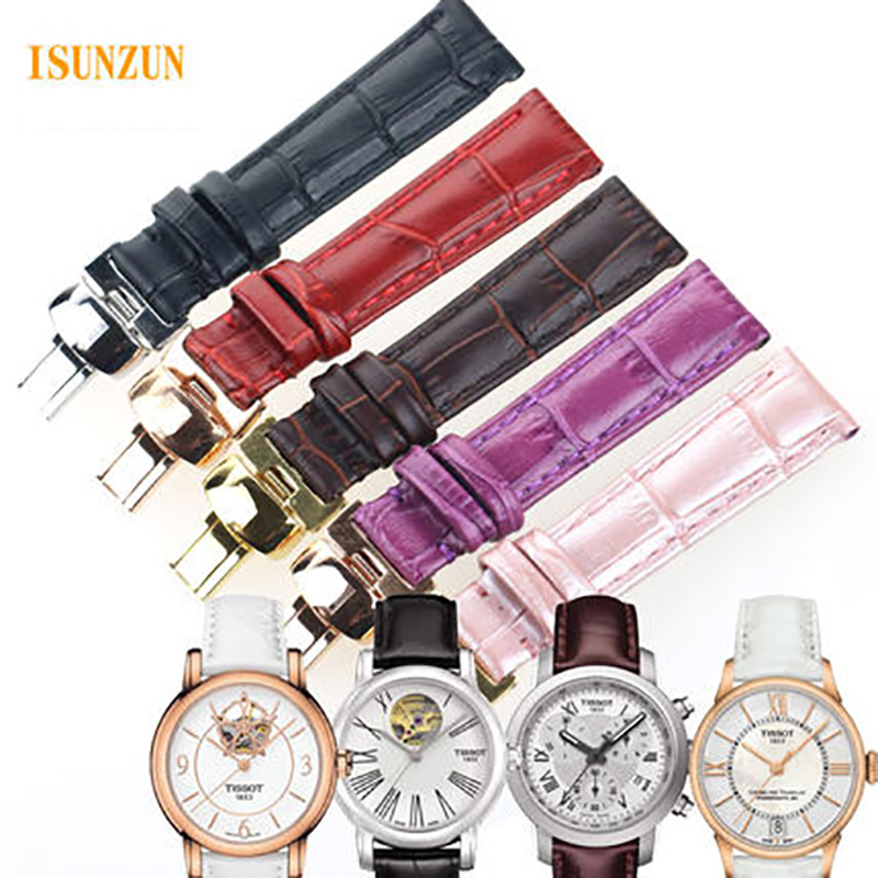 ISUNZUN Women 16mm Watchband For Tissot T050 Watch Band Female Watch Band For T055/T099/T063 Genuine Leather Watch Strap 16mm тетрадь на скрепке printio animalswag ii collection fox