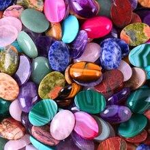 25x18MM Mixed Stone Tigereye/Quartz/Purple Crystal/Rhodonite/Opal/Sandstone Oval CAB GEM Cabochon Jewelry (12 pcs/lot) H045