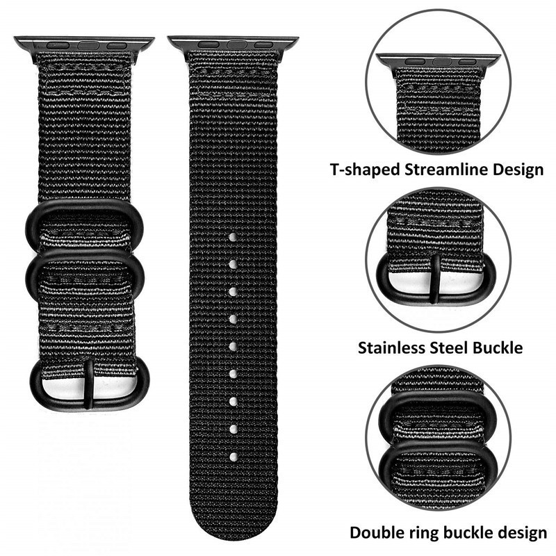 Sports Nylon Strap 44 42 40 38mm For Apple Watch4 3 2 1 Casual Breathable Apple Watch Band Metal buckle For Iwatch Series in Watchbands from Watches