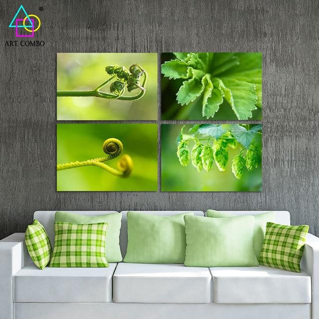 Sin marco Moderno Pintura de la Lona Verde Plantas Característica ...